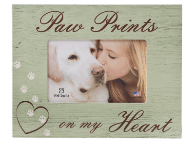 "Sympathy:  Picture Frame ""Paw Prints on My Heart"""