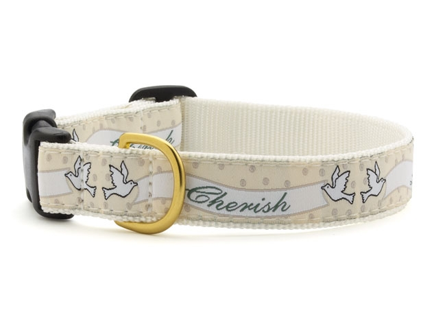 "Dog Collars: 5/8"" or 1"" Wide Wedding, Love and Cherish Clip Collar"