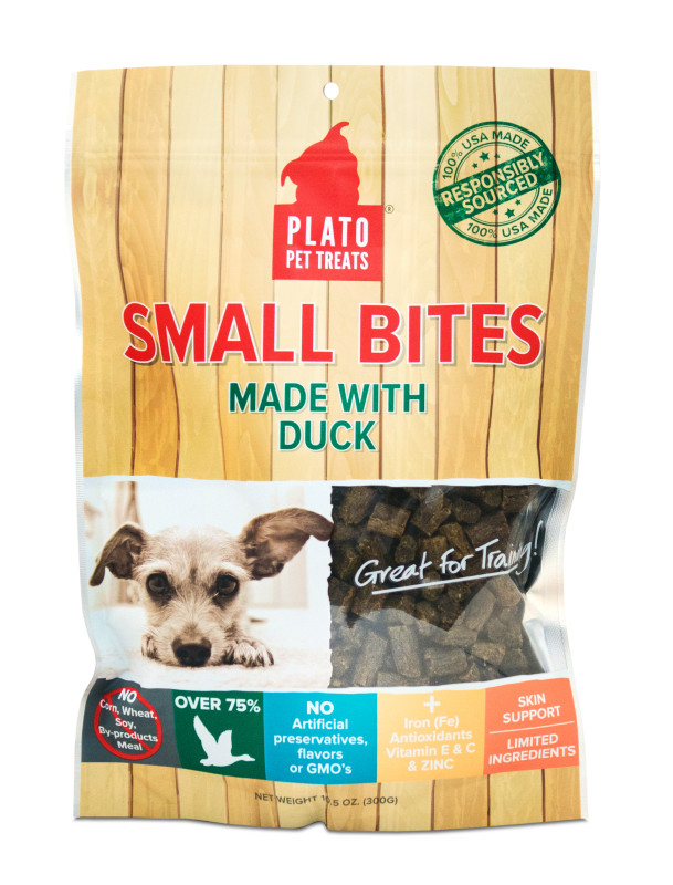 Treats: Plato Small Bites Semi-Moist Duck or Organic Chicken Treats 4 oz