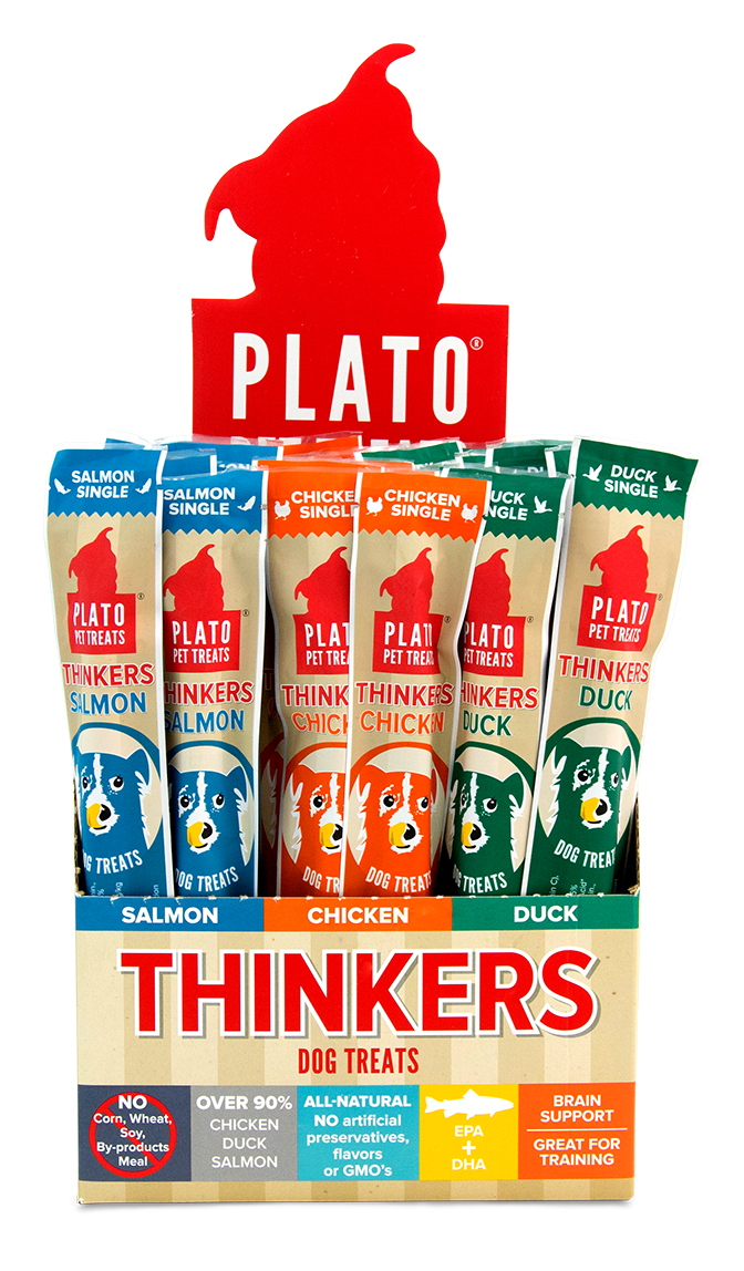 Treats: Plato Thinker Sticks Sold in Individual Sticks: Duck, Chicken, or Salmon