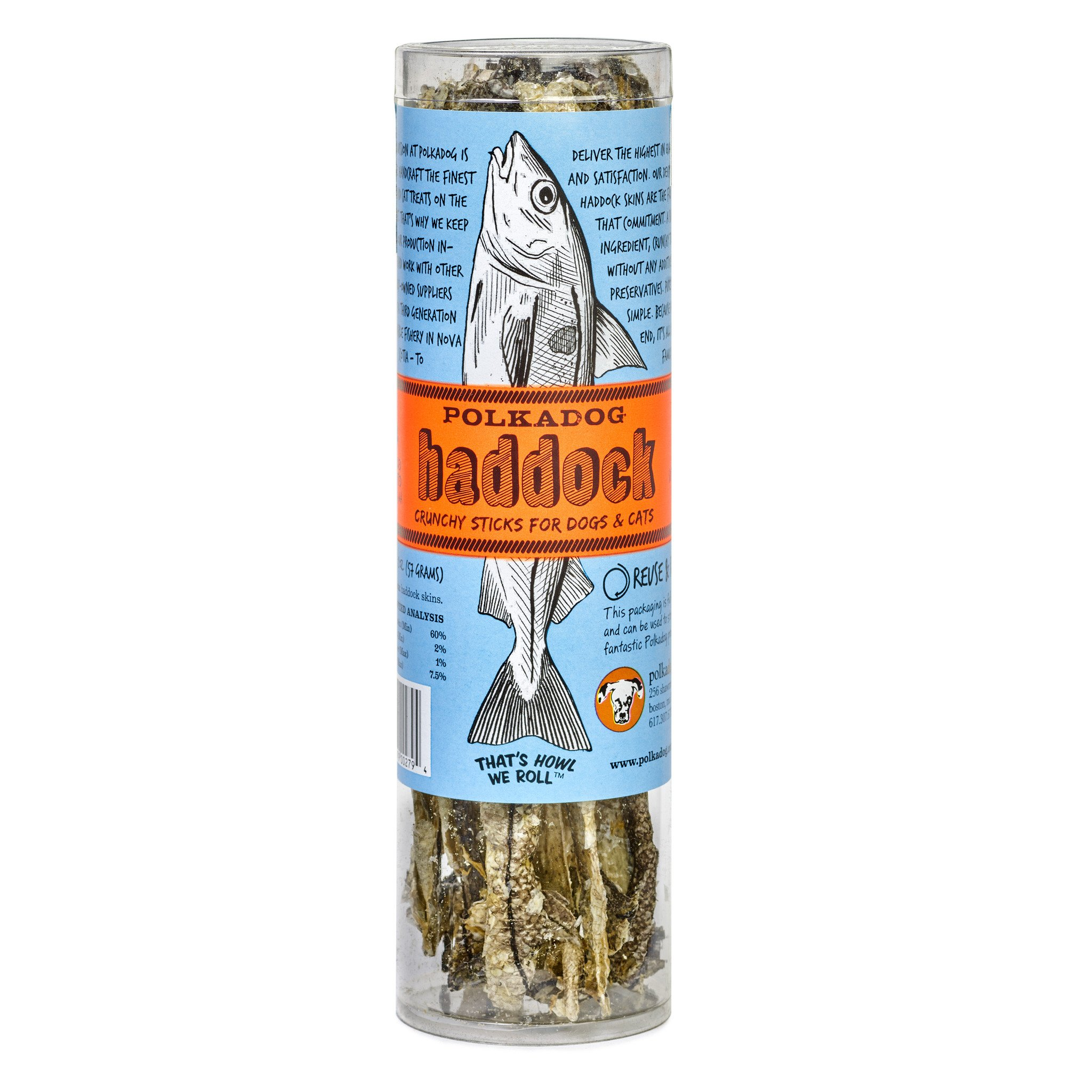 Treats:  PolkaDog 100% Haddock Skin Sticks