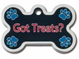 "Engraved ID Tag:  Large Bone Shape Chrome with ""Got Treats"" Epoxy"