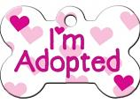Engraved ID Tag:  Large I'm Adopted Pink Bone Shape